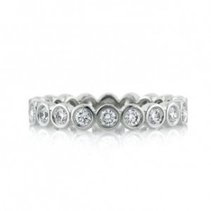 1.00ct Round Brilliant Cut Diamond Bezel Eternity Band in 18k White Gold | Mark Broumand