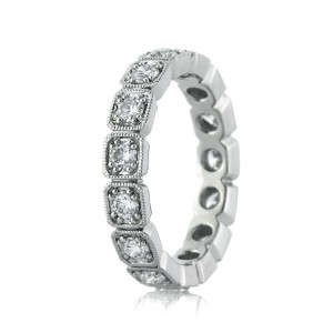 1.20ct Round Brilliant Cut Diamond Eternity Band in Platinum Side Tall | Mark Broumand
