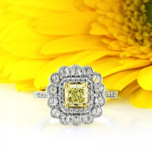 1.32ct Fancy Intense Yellow Radiant Cut Diamond Engagement Ring | Mark Broumand