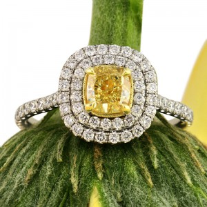 1.54ct Fancy Intense Yellow Cushion Cut Diamond Engagement Ring | Mark Broumand