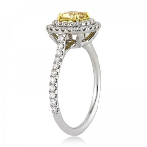 1.54ct Fancy Intense Yellow Cushion Cut Diamond Engagement Ring Profile | Mark Broumand