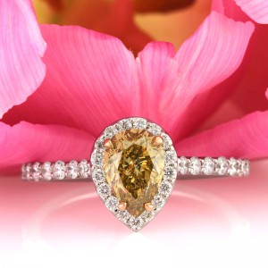 1.55ct Fancy Brown Yellow Pear Shaped Diamond Engagement Ring | Mark Broumand