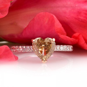 1.63ct Fancy Brown Yellow Heart Shaped Diamond Engagement Anniversary Ring | Mark Broumand