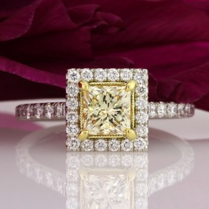 1.67ct Fancy Yellow Princess Cut Engagement Ring | Mark Broumand
