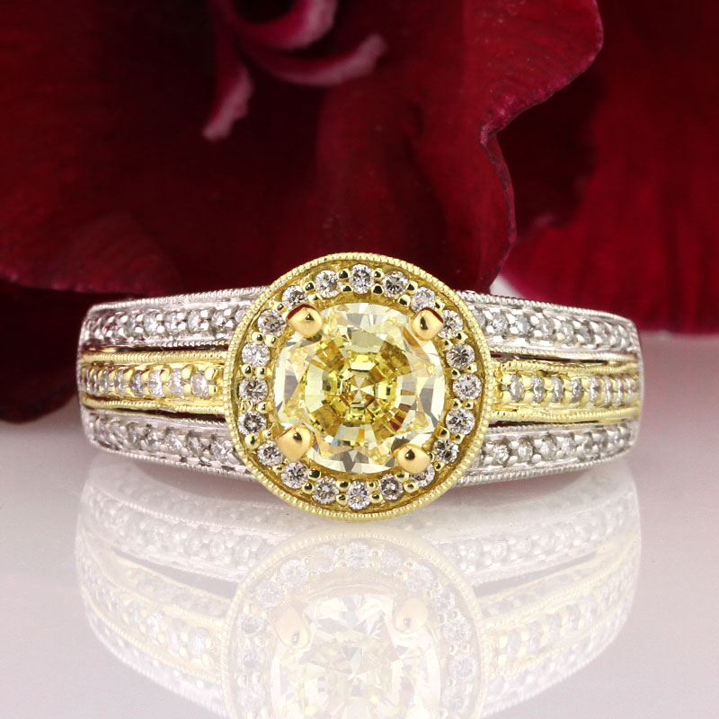 Fancy Yellow Round Brilliant Cut Engagement Rings | Mark Broumand