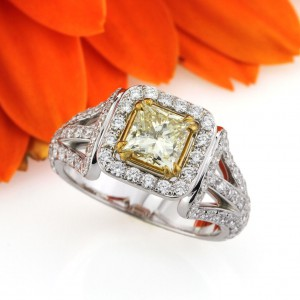 2.12ct Fancy Yellow Princess Cut Diamond Engagement Ring | Mark Broumand