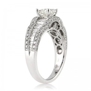 2.29ct Radiant Cut Diamond Engagement Ring Angled Tall