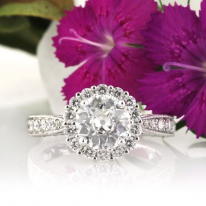 Dazzling Antique Round Cut Diamond Engagement Rings | Mark Broumand