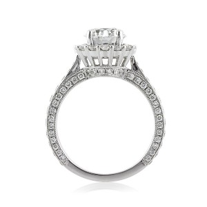 2.31ct Old European Round Cut Diamond Engagement Ring Side Tall | Mark Broumand