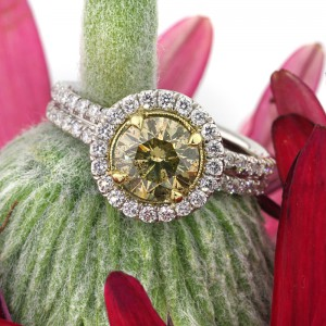 2.49ct Fancy Brown Green Yellow Round Brilliant Cut Diamond Engagement Ring | Mark Broumand