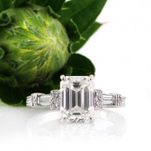 2.61ct Emerald Cut Diamond Engagement Ring | Mark Broumand