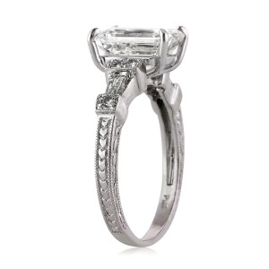 2.61ct Emerald Cut Diamond Engagement Ring Angle Tall Side | Mark Broumand