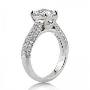2.68ct Cushion Cut Diamond Engagement Ring Side Angle | Mark Broumand