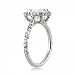 2.77ct Radiant Cut Diamond Engagement Ring Tall Angle