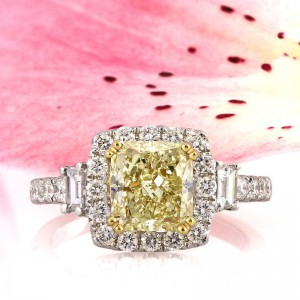 3.09ct Fancy Yellow Cushion Cut Diamond Engagement Ring