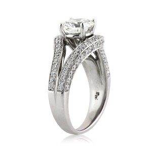 3.12ct Round Brilliant Cut Diamond Engagement Ring in Palladium Side Tall | Mark Broumand