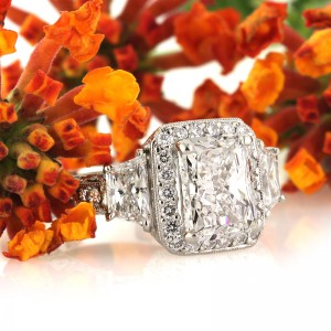 3.52ct Radiant Cut Diamond Engagement Ring
