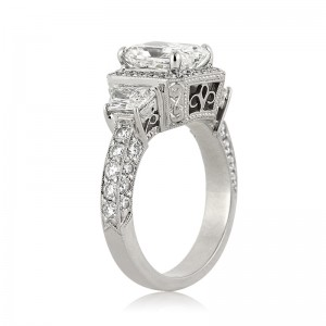3.52ct Radiant Cut Diamond Engagement Ring Tall Side
