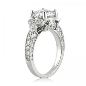 3.54ct Round Brilliant Cut Diamond Engagement Ring Tall Angle | Mark Broumand