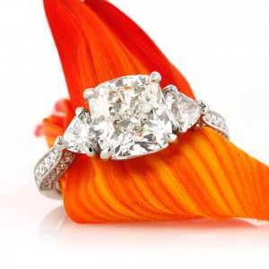 4.10ct Three Stone Cushion Cut Diamond Engagement Ring | Mark Broumand