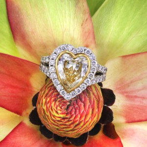 4.50ct Fancy Yellow Heart Shaped Diamond Engagement Ring