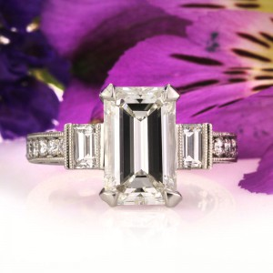 5.49ct Emerald Cut Diamond Engagement Ring | Mark Broumand