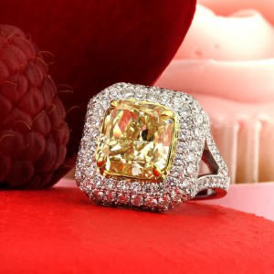 6.17ct Fancy Light Yellow Radiant Cut Diamond Engagement Ring | Mark Broumand