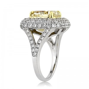 6.17ct Fancy Light Yellow Radiant Cut Diamond Engagement Ring Angle Tall