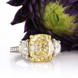 6.37ct Fancy Yellow Cushion Cut Diamond Engagement Ring | Mark Broumand