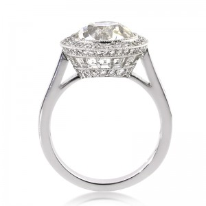7.09ct Antique European Round Cut Diamond Engagement Ring Tall Side | Mark Broumand