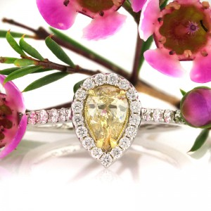 1.09ct Fancy Color Pear Shaped Diamond Engagement Ring | Mark Broumand