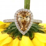 1.52ct Fancy Brown Yellow Pear Shaped Diamond Engagement Ring | Mark Broumand