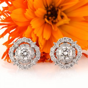 1.82ct Round Brilliant Cut Diamond Halo Stud Earrings | Mark Broumand