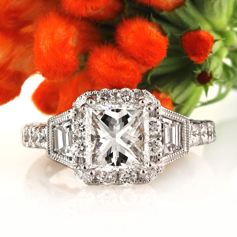 3.49ct Princess Cut Diamond Engagement Ring | Mark Broumand