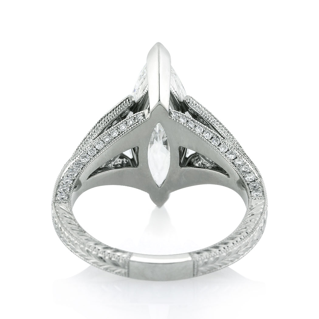 3.86ct Marquise Cut Diamond Engagement Ring Back | Mark Broumand