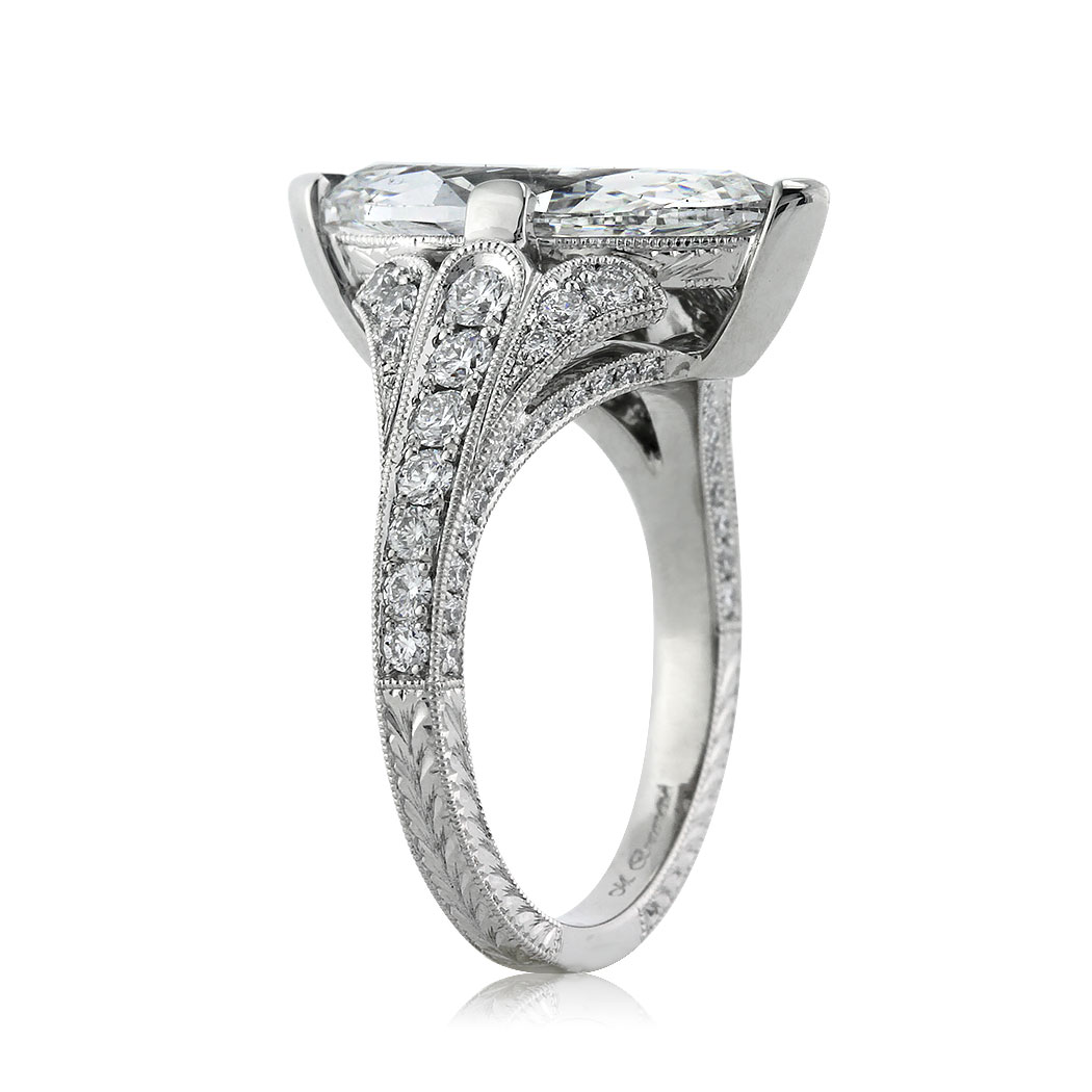3.86ct Marquise Cut Diamond Engagement Ring Side Tall | Mark Broumand