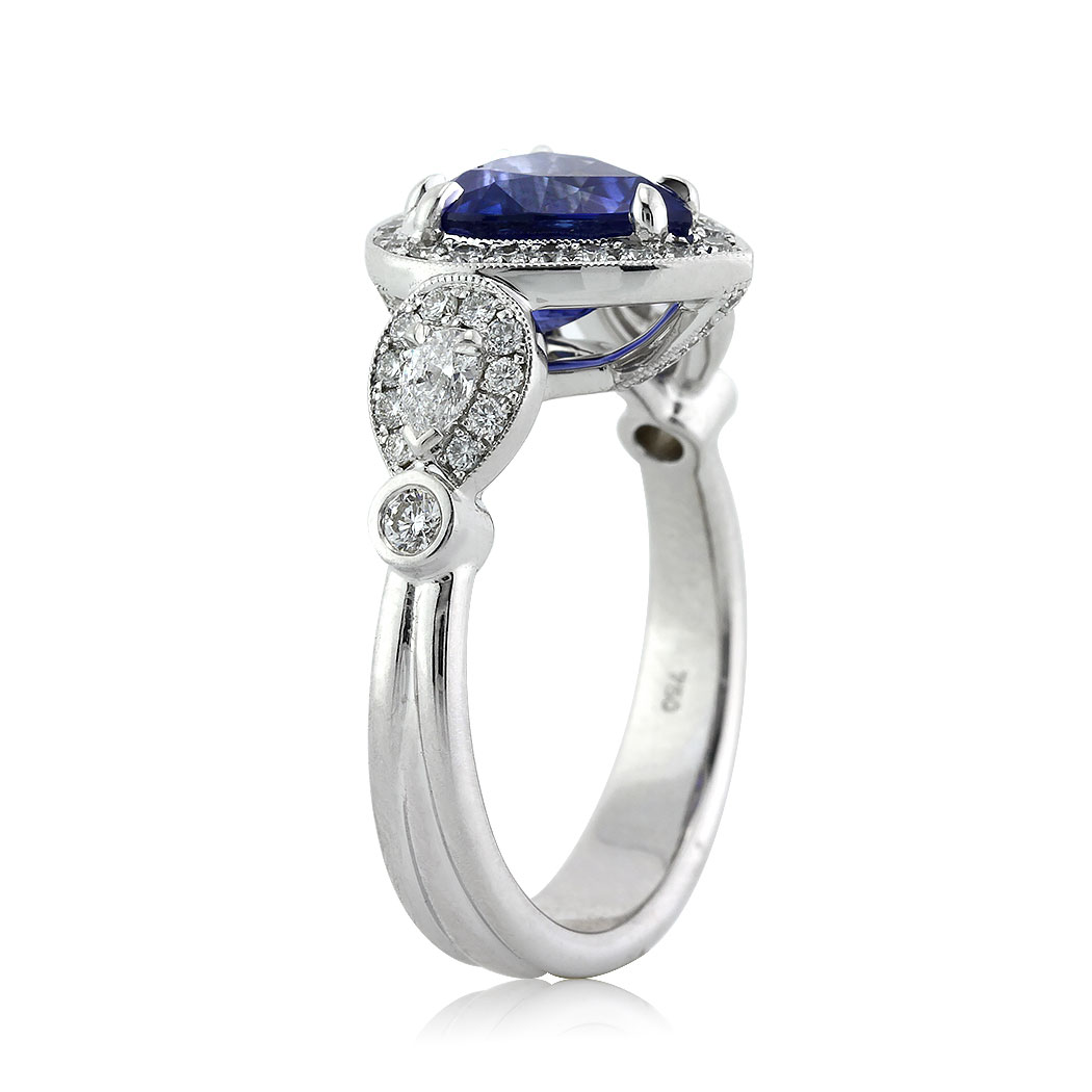 3.93ct Pear Shaped Sapphire and Diamond Engagement Ring Tall Side | Mark Broumand