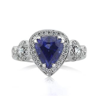 3.93ct Pear Shaped Sapphire and Diamond Engagement Ring | Mark Broumand
