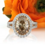 4.28ct Fancy Brown Yellow Oval Cut Diamond Engagement Ring | Mark Broumand