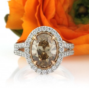 4.28ct Fancy Brown Yellow Oval Cut Diamond Engagement Ring