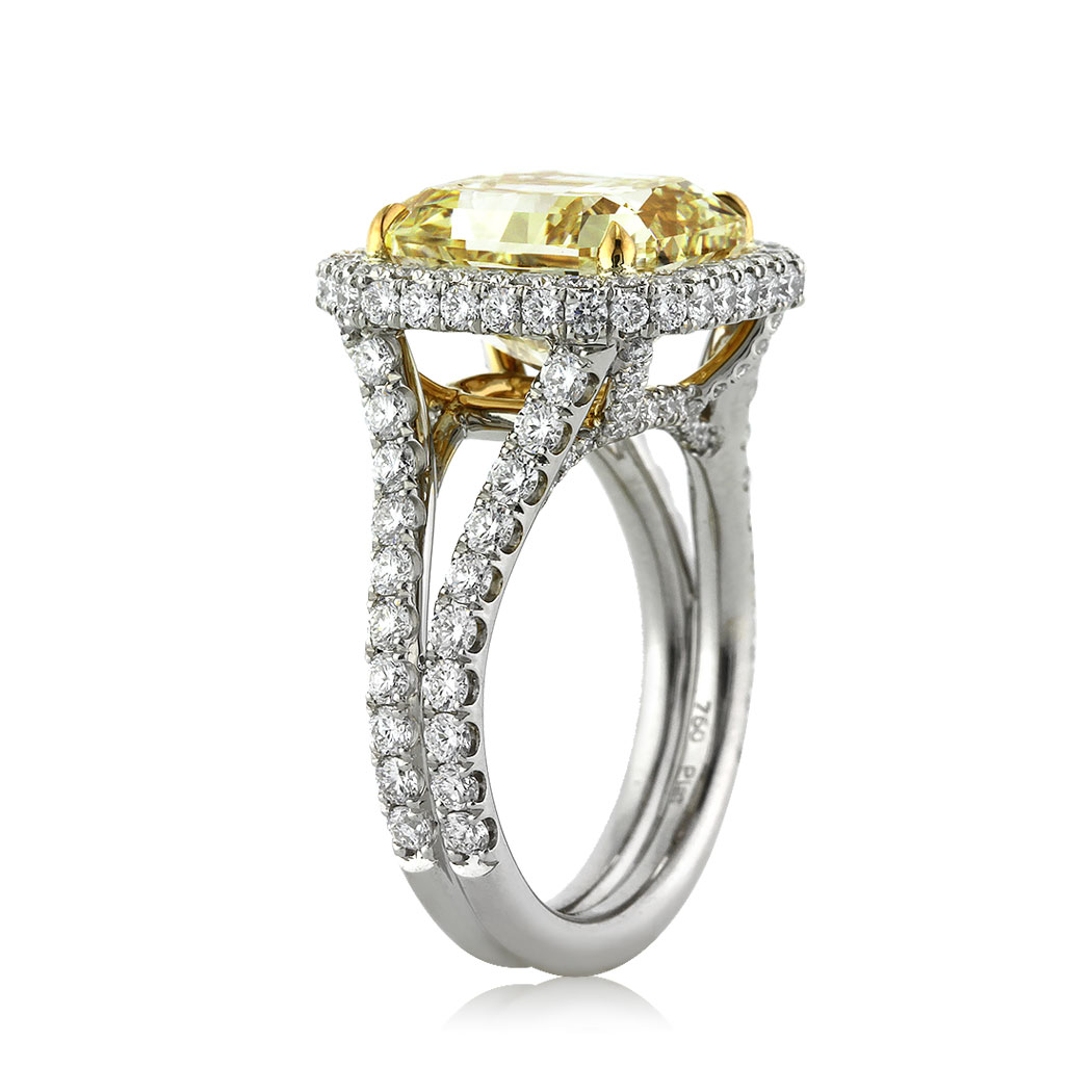 8.33ct Fancy Yellow Radiant Cut Diamond Engagement Ring Angle Tall | Mark Broumand