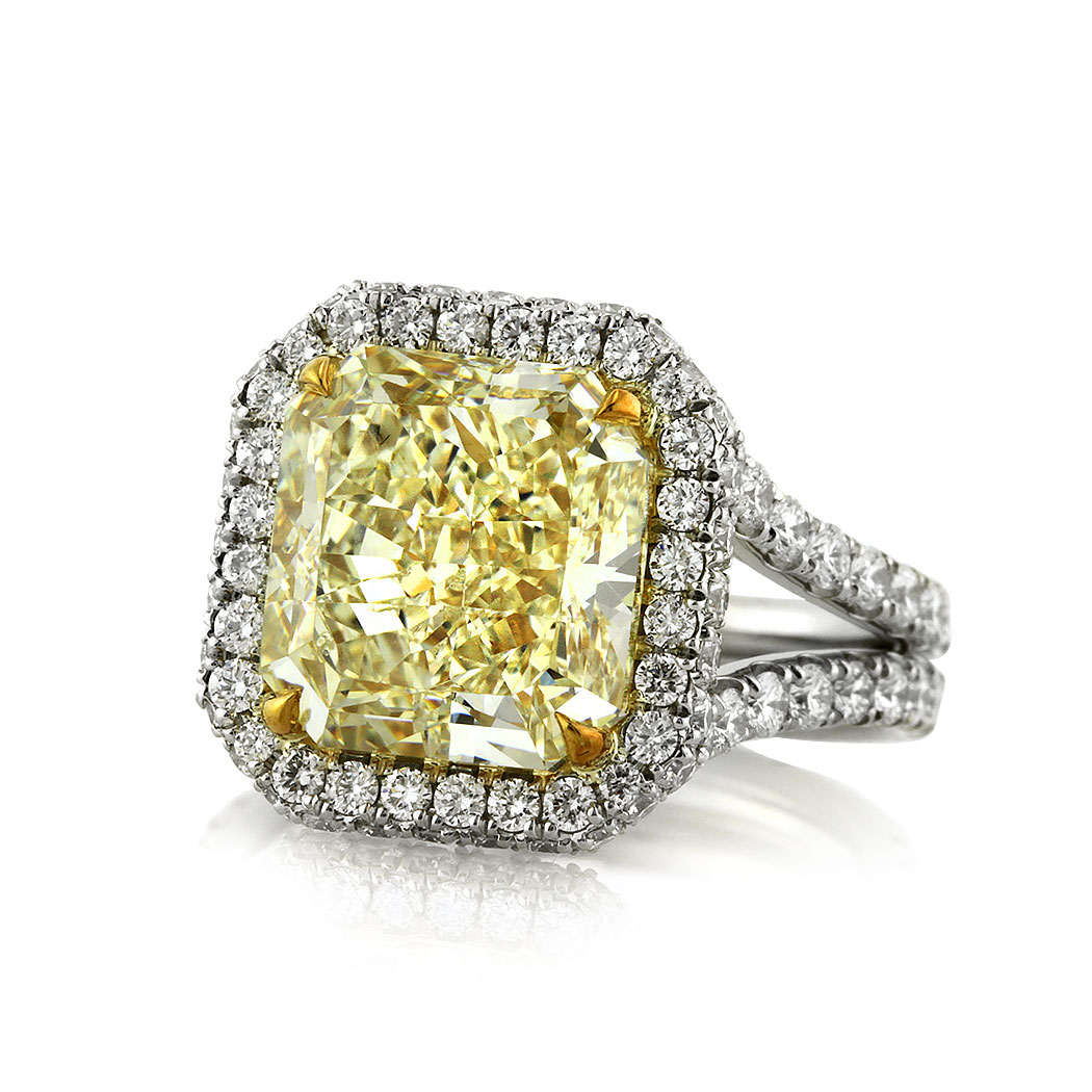 8.33ct Fancy Yellow Radiant Cut Diamond Engagement Ring Low Side | Mark Broumand