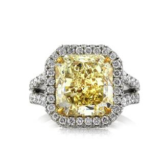 8.33ct Fancy Yellow Radiant Cut Diamond Engagement Ring | Mark Broumand