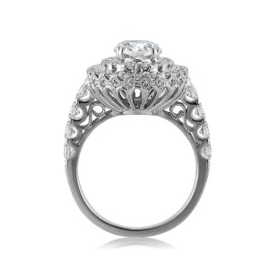 Center basket milgrain detail custom oval cut diamond ring | Mark Broumand