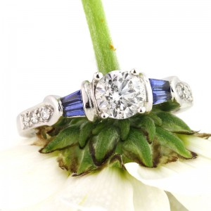 1.23ct Round Brilliant Cut Diamond and Sapphire Engagement Ring | Mark Broumand