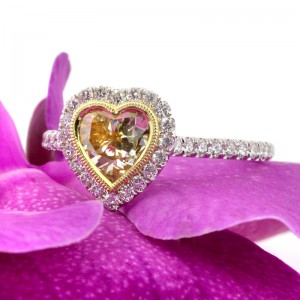 1.35ct Fancy Yellow Heart Shaped Diamond Engagement Ring | Mark Broumand