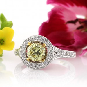 1.97ct Fancy Yellow Round Brilliant Cut Diamond Engagement Ring | Mark Broumand