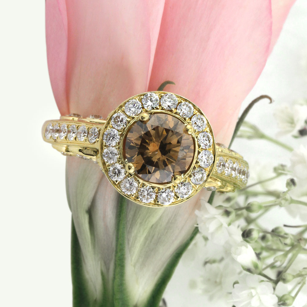 2.28ct Fancy Color Dark Brown Round Brilliant Cut Diamond Engagement Ring | Mark Broumand