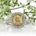 3.10ct Fancy Light Yellow Cushion Cut Diamond Engagement Ring | Mark Broumand