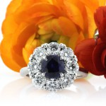 3.18ct Round Brilliant Cut Sapphire and Diamond Engagement Ring | Mark Broumand
